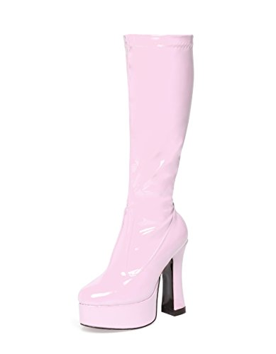 Pink Gogo Boots – Pink Patent Kniehohe Plateaustiefel (8)
