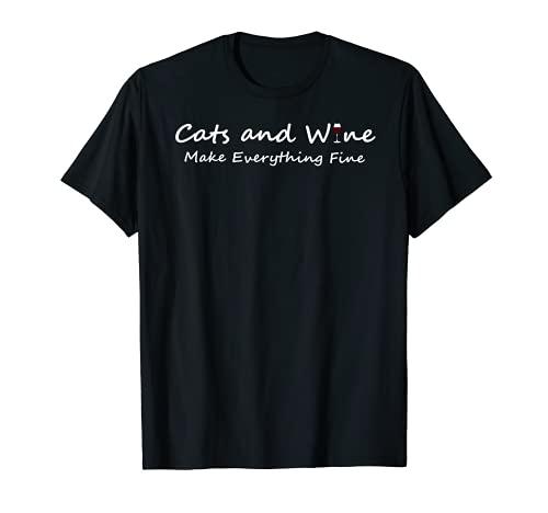 Gatti di vino e animali domestici, gatto e vino Maglietta
