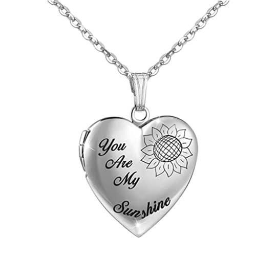 JOMOSIN AB914 You Are My Sunshine - Collar con medallón de corazón para mujeres y niñas que sostiene imágenes con medallón de corazón, joyería para regalos de cremación (color de metal: estilo 2)