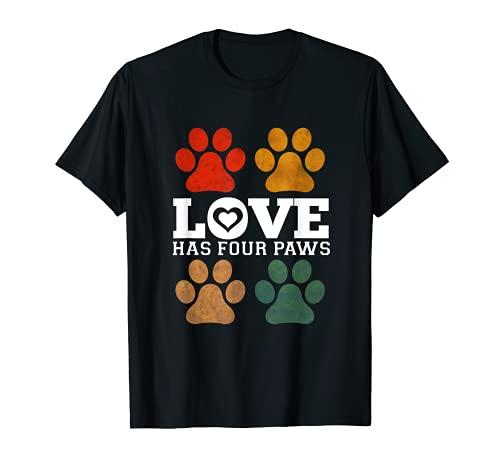 Love has Four Paws Vintage Retro Perros Amantes Camiseta