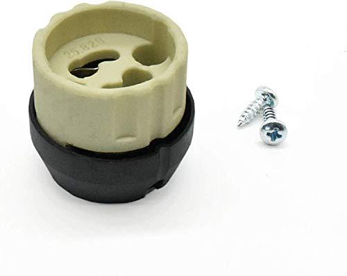 GZ10 Halogenlampenfassung + Iso-Haube M10x1 + 2x Schraube DIN 7981C für Hochvolt Lampen - Fassung mit Steckanschluss - passend auch für GU10 Leuchtmittel