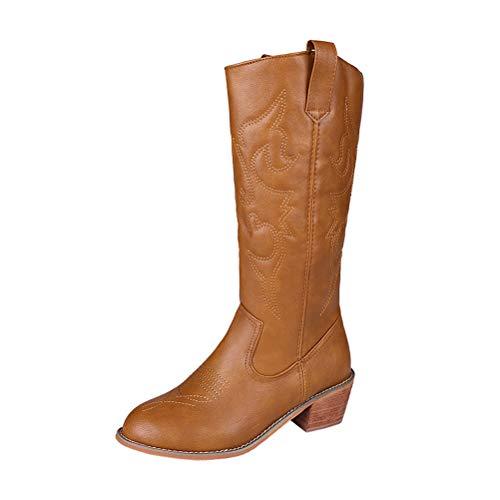 ORANDESIGNE Cowboy Western Scarpe da Donna Stivali Stivaletti Punta Camperos Texani Etnici Marrone 35 EU