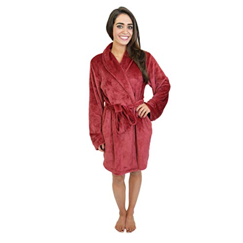 Cherokee Women's Polyester Plush Shawl Collar Bathrobe Sleepwear, Rumba Red, X-Large
