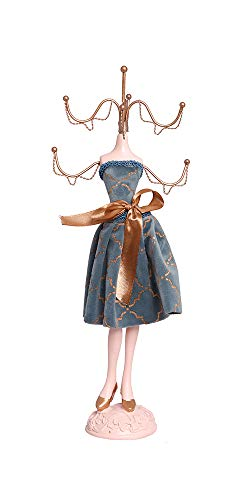 Alice's Collection Jewellery Stand Necklace Earring Ring Holder Dressing Table Organizer | Mannequin Stand | Jewelry Storage Display Stand Decorative Hanger for Your Jewelry (light blue short dress)