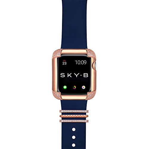 SKYB Pavé Corners Apple Watch Case with Venice Watch Band Charms and Silicone Sports Band Set - 14K Rose Gold Plated with Cubic Zirconia for 44mm Apple Watch Series 4, 5