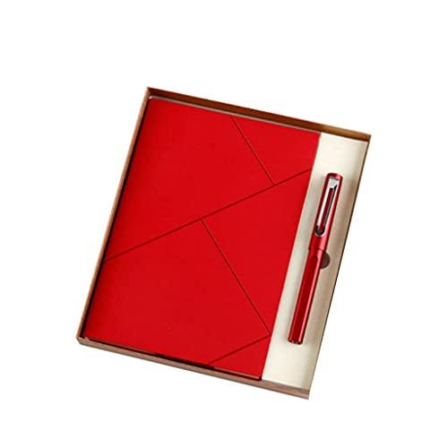 LWLEI Conjunto de Notebook Diario de Moda Estudiante Estudiante Personalizado Bloc de Notas portátil (A5 Bloc de Notas + Pluma de la Firma + Bolsa de Regalo de Caja de Regalo) (Color: Rojo) Song