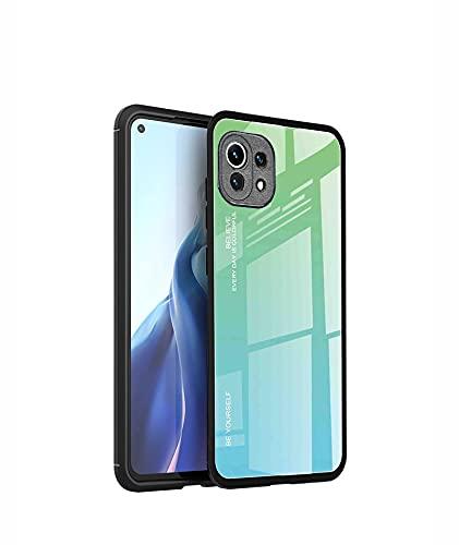 GOKEN Glas Hülle für Xiaomi Mi 11 Lite 5G | Mi 11 Lite, Farbverlaufsglas Schutzhülle mit TPU Rahmen & 9H Panzerglas Rückseite, Weicher Bumper Hülle Stoßfest Kratzfest Cover Handyhülle (6)