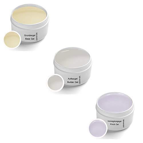 Set di gel UV 3 x 5ml - 1 x Gel UV di base 5 ml - 1 x Gel UV strutturante 5 ml - 1 x Gel UV di tenuta 5 ml
