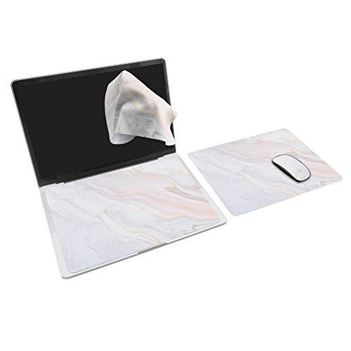 SenseAGE [30% più grande] tappetino per mouse 3-in-1 esteso, tappetino per mouse multifunzionale in microfibra per laptop, tappetino per tastiera lavabile, protezione e pulizia del monitor, Marmo Rosa