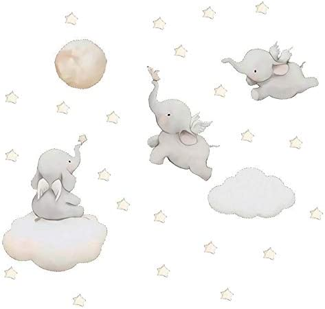 MASCARE Flying Elephant Wall Decal Animal with Cloud Moon Star Wall Sticker Dumbo Wall Art Decor product image