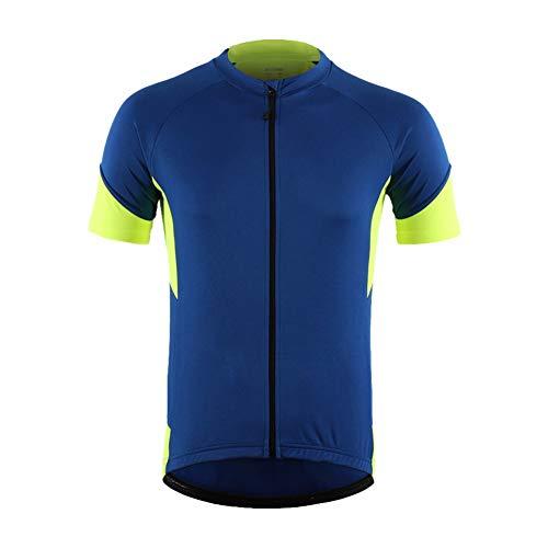 LY4U Men's Cycling Jersey, Short Sleeve Biking Cycle Tops Lightweight Quick Dry Breathable Mountain Bike MTB Shirt Mountain Racing Bicycle Half Sleeve T-Shirt Blue