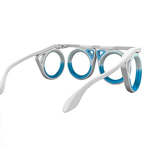 Anti Motion Sickness Bril Ultra-Light Opvouwbare Draagbare Magnetische Verlichte Glazen Upgraded Anti-Motion Sickness Bril Anti-Verhoogde Airsick Seasickness Bril Anti-Misselijkheid,Wit