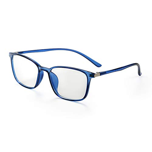 Aroncent Brille, für Herren und Damen, UV-Schutz 400, blaues Licht, widerstandsfähig, elastisch, transparente Gläser, komfortabel, ultraleicht, Farbe wählbar blau