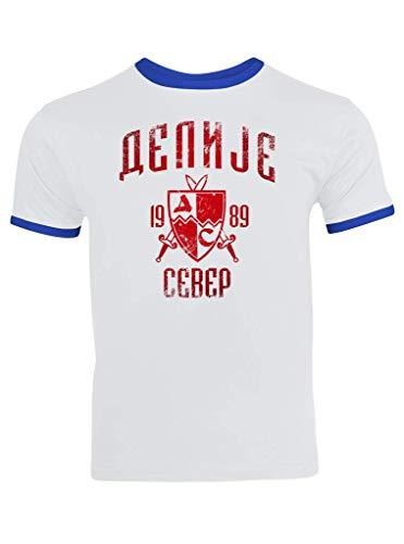 Delije Red Star Crvena Zvezda Beograd Sever Srbija Ringer T-Shirt Herren Trikot, Größe:L, Farbe:Weiß Blau (White Royalblue F159)
