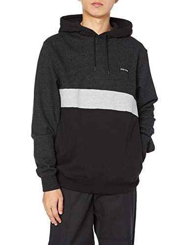 Volcom Men's Single Stone Division Pullover Hooded Fleece Sweatshirt, Black, Small