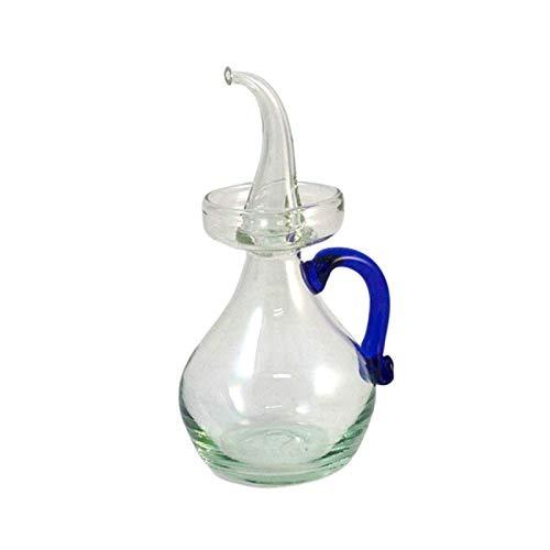 Aceitera de Cristal antigoteo con asa Azul para Cocina. Capacidad Medio litro 550 ml Aproximadamente. con asa para sujeción Mesa y Cocina. Fabricada de Forma Artesanal en España. Made in Mallorca
