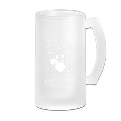 Printed 16oz Frosted Glass Beer Stein Mug Cup - Leonardo Vitruvian Drummer Premium Drum Set - Graphic Mug