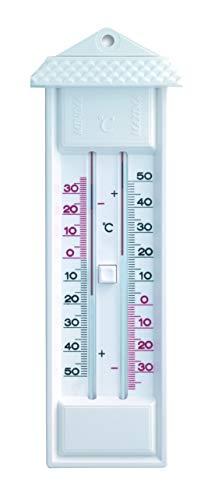 TFA Dostmann Analoges Maxima-Minima-Thermometer, 10.3014.02, Höchst und Tiefstwerte, wetterfest, hergestellt in Deutschland, weiß
