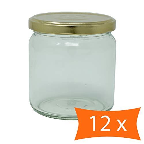 CR Produkte - Juego de 12 tarros de Mermelada (405 ml con tapas y pegatinas, para conservas, llenar y conservar, ideal para Miel, Mermeladas, Frutas y Verduras)