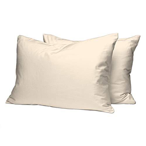 Pizuna Luxuriöser Soft-Satin 2er Pack Kissenbezug 70 x 90 cm Beige, 400 Fadenzahl Baumwolle Kissenbezüge, 100% Langstapel Baumwolle Kissenbezug (Beige, 70x90 cm)