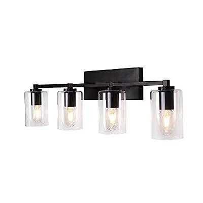 LMSOD 4 Lights Bathroom Vanity Light Fixture, Black Industrial Vintage Sconces Wall Lighting with Clear Glass and Metal Base
