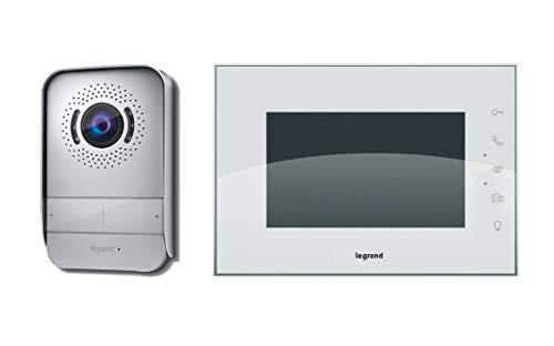 Kit videoportero Legrand 369230, compuesto de un monitor de vídeo interior con pantalla a color de 7 pulgadas e interfono exterior de visión nocturna gran angular, acabado blanco