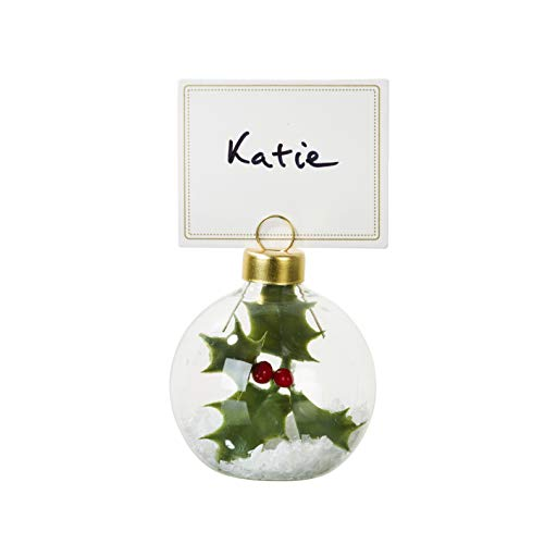 Talking Tables Botanical Holly Bauble Place Card Holders for Christmas Dinner, Party and Celebrations (6 Pack)