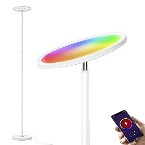 Wixann Smart Led Floor Lamp - Torchiere RGBW Smart Lamp Work with Alexa Google Home, 2000LM Dimmable Bright Standing Lamp for Living Rooms Bedroom Offices, Remote Control Via Smart Life - White