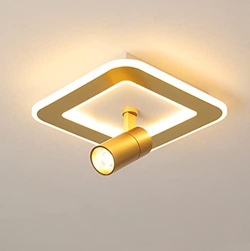 OURLOVEII LED Deckenleuchte Runden Strahler Golden Deckenstrahler Korridor Deckenlampe Modern Veranda Quadrat Spotleuchten Drehbar Schlafzimmer Deckenbeleuchtung Acryl Lampenschirm,B