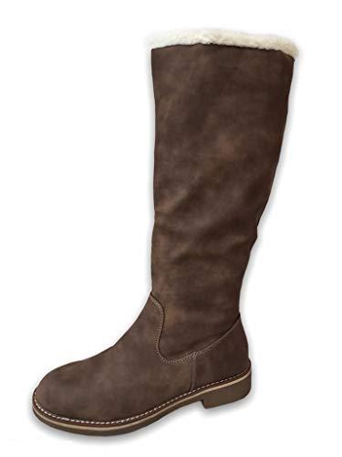 Damen Stiefel warm gefüttert Boots Schnalle Winterschuhe ST818 (ST557 Khaki/Braun, 41)