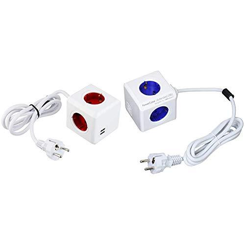 POWERCUBE Extended USB + Allocacoc 1402BL/DEEUPC PowerCube Extended Regleta de 4 Tomas de Corriente, Cable de 1.5 Metros, 2 USB y Kit de Soporte para Fijar en Mesa, Color Azul, 250 V