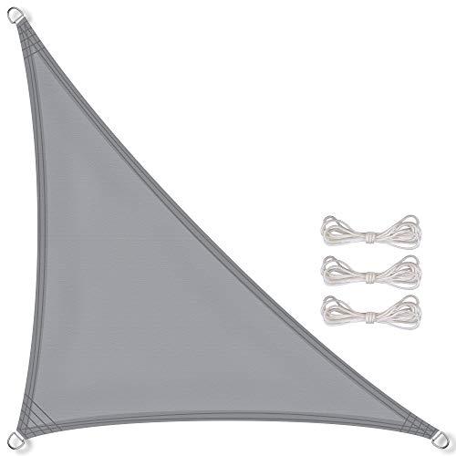 CelinaSun Sonnensegel inkl Befestigungsseile PES Polyester wasserabweisend imprägniert Dreieck rechtwinklig 3,6 x 3,6 x 5,1 m hell grau