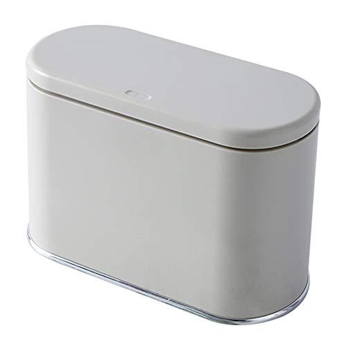 Papelera de baño pequeña de 2 litros con tapa, contenedor de alimentos para cocina, de plástico delgado para dormitorios con barril interior StyleName Size crema