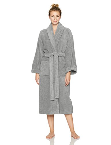 Pinzon Terry Bathrobe 100% Cotton, Platinum, Medium / Large
