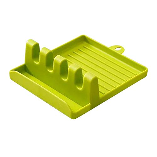 Plastic Spoon Rest Kitchen Organizer for Fork Spatula Rack Spoon Holder Stand Tableware Storage Rack for Spoon Pot Lid Holder (Color : Green)