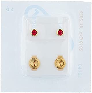 Caflon Earrings with Colored Stone for Baby Girls - Gold and Red