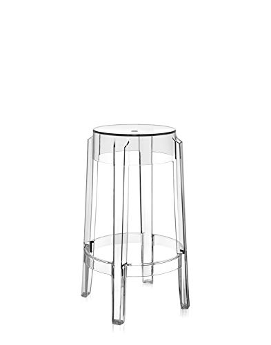 Kartell Charles Ghost Taburete mediano, cristal, 2 unidades