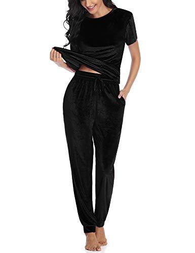 Akalnny Trainingsanzug für Damen, Lange Ärmel, seitlich gestreift, für Sport, Joggen, Fitnessstudio, Workout, Outfit, Playsuit(Schwarz,XXL)