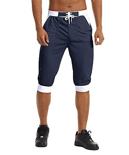 FASKUNOIE Men's 3/4 Joggers Three Quarter Pants Below Knee Comfortable Mesh Shorts with Pcokets Navy