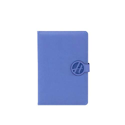 SFF Cuadernos de Oficina Libreta A5 Cuero Hechos a Mano Diario Página 48 Página 64 sin Forro Hojas rayadas, Cuaderno de Papel elástico Cierre con Cuaderno de Tapa Blanda (Color : Blue)