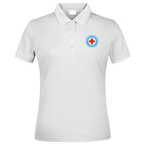 MT83 DRK Deutsches Rotes Kreuz Damen Wasserwacht Poloshirt alle gestickten Logos (XS)