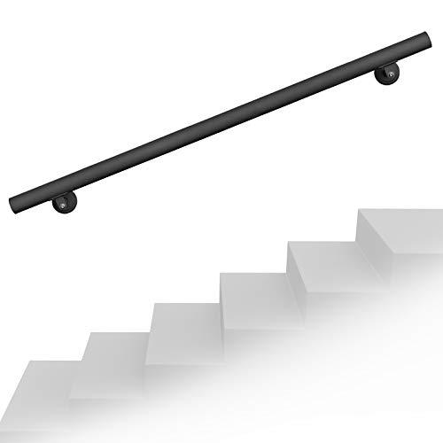 Set pasamanos barandilla montaje pared 190cm Negro Acero Sujección Escalera Seguridad Decoración