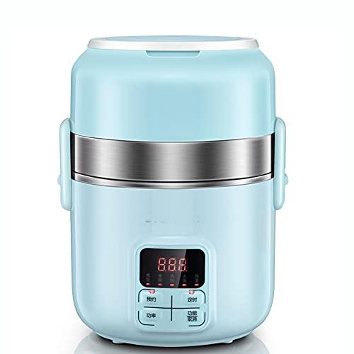 Edelstahl Elektrische Lunchbox, Tragbare Lebensmittel-Mittagessenheizung, DREI Schichten Bento-Box, Mini-Reis-Dampferdampfer, Büroangestellter Beheizter Isolier-Lunchbox,Blau