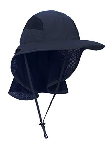 Unisex Gorra de Safari con Extra Largo Protector de Nuca 12cm Gran Borde para Actividades al Aire Libre Sol Protección UV - Actualizado el Tela Azul Oscuro