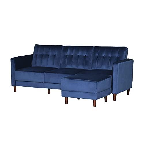 HOMCOM Upholstered Sofa Bed Reversible Sectional Sofa Set Velvet-Touch Sleeper Futon with Footstool, Blue