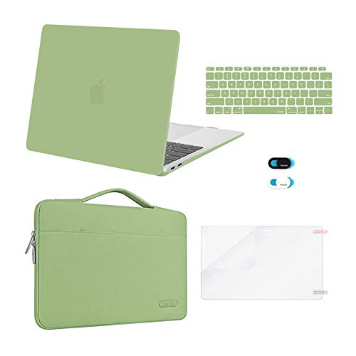 MOSISO Compatible with MacBook Air 13 inch Case 2020 2019 2018 Release A2337 M1 A2179 A1932 Retina Display Touch ID, Plastic Hard Shell&Bag&Keyboard Cover&Webcam Cover&Screen Protector, Avocado Green