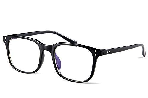 Effnny Bloqueo de luz azul Gafas anti fatiga filtro UV juegos de computadora monturas de gafas de lectura Para hombres mujeres 5025 (Negro)