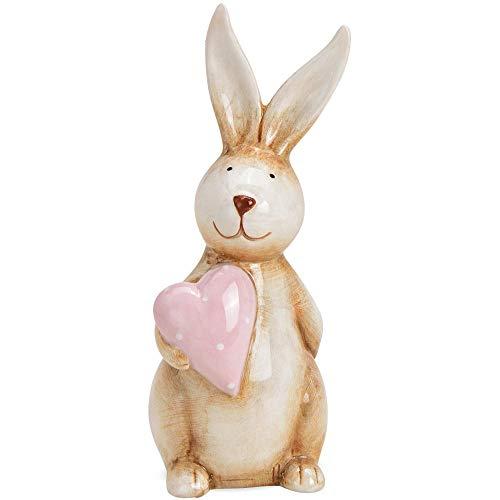 matches21 - Coniglio pasquale decorativo con cuore in ceramica marrone e rosa, 1 pezzo, 7 x 6 x 17 cm