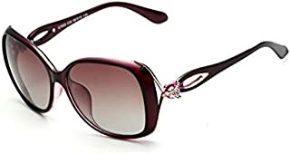 VEITHDIA Vintage Polarized Sunglasses with Oval Lens for Women-Purple