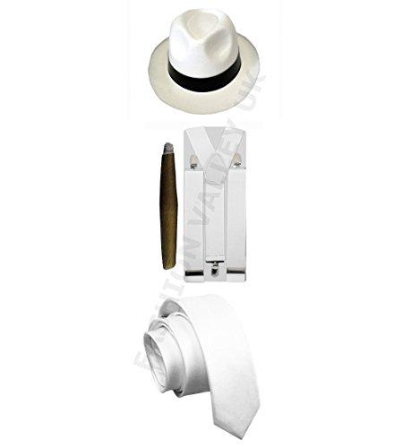 GANGSTER Pimp Hat bretelles de Cigare 1920 's Mafia adulte Costume